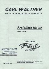 Carl Walther Pricelist 1939