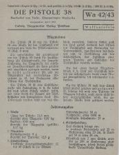 Die Pistole 38 manual Potsdamer tafeln 1944 Wa 42/43