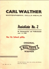 Carl Walther 1938 pricelist