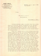 Letter from Carl Walther to Albert Preuss about quality ppk pistols