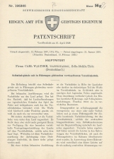 Carl Walther Patent Swiss #195365